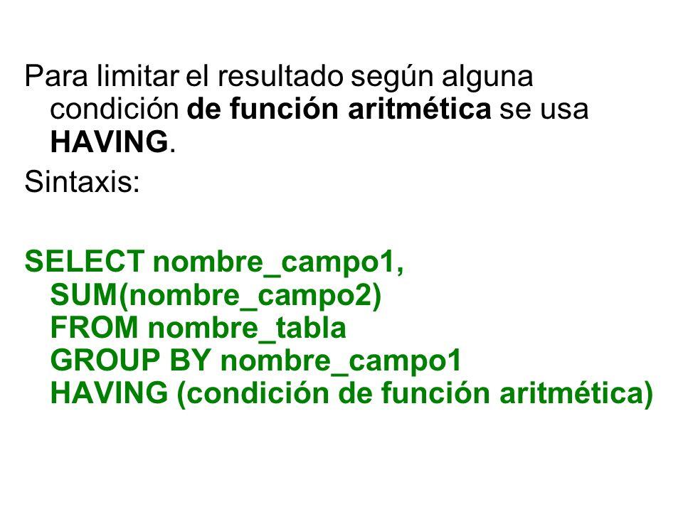 Para limitar el resultado según alguna condición de función aritmética se usa HAVING.