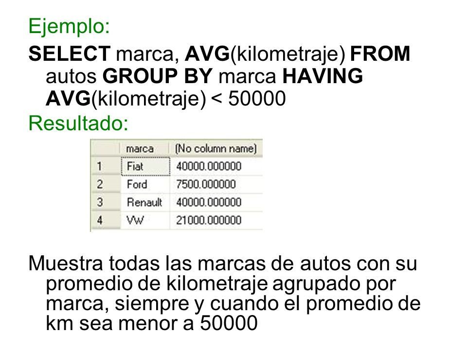 Ejemplo: SELECT marca, AVG(kilometraje) FROM autos GROUP BY marca HAVING AVG(kilometraje) < 50000. Resultado: