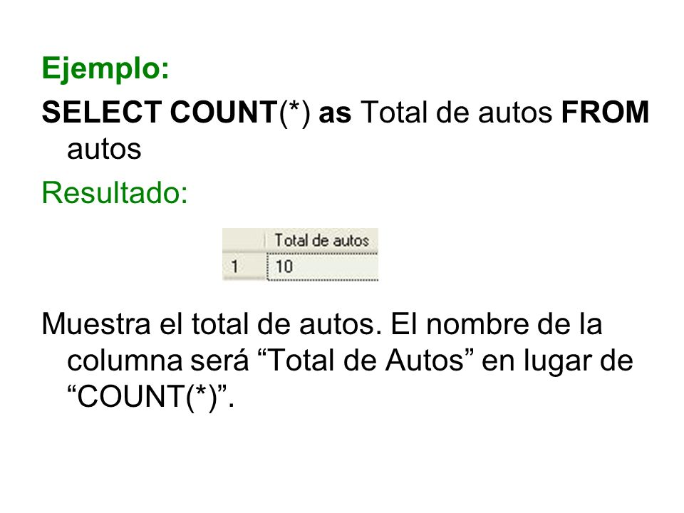 Ejemplo: SELECT COUNT(*) as Total de autos FROM autos. Resultado: