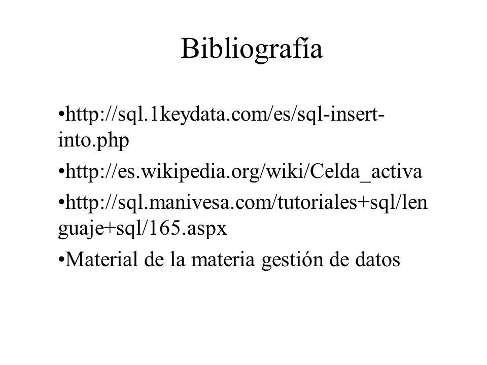 Bibliografía http://sql.1keydata.com/es/sql-insert-into.php