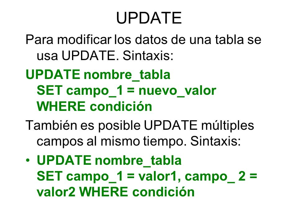 UPDATE Para modificar los datos de una tabla se usa UPDATE. Sintaxis: