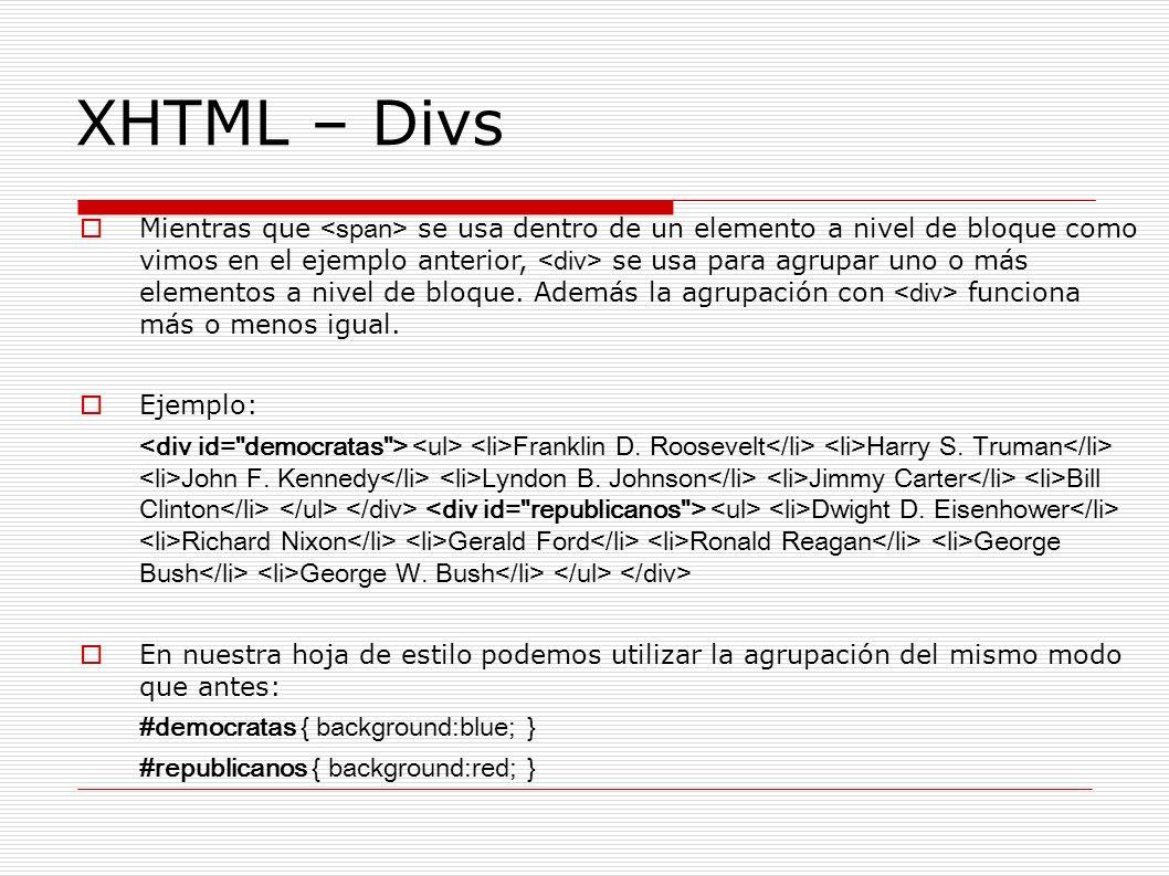 XHTML – Divs