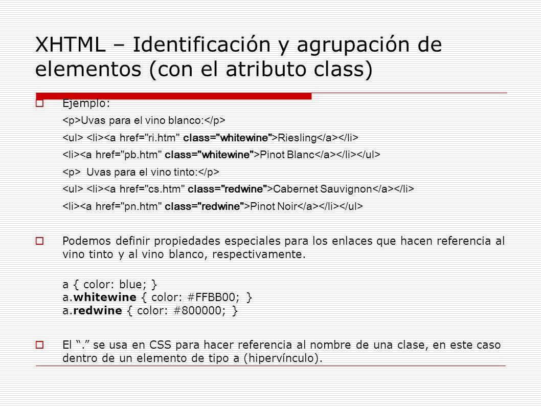XHTML – Identificación y agrupación de elementos (con el atributo class)