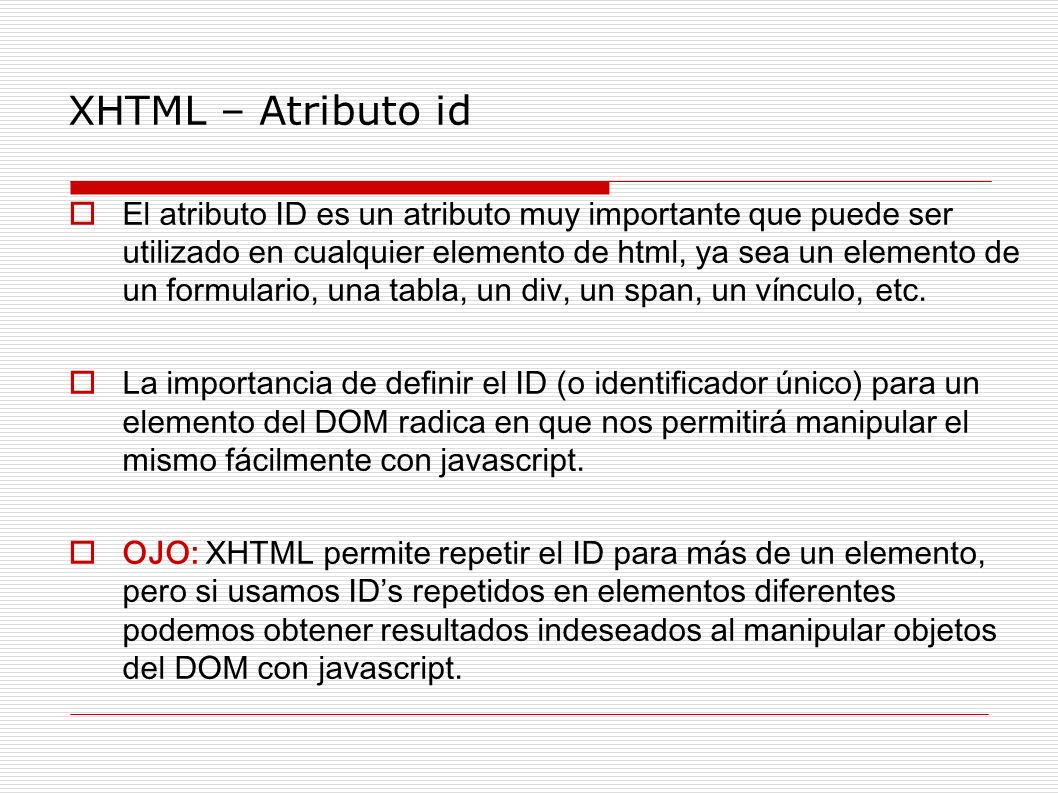 XHTML – Atributo id