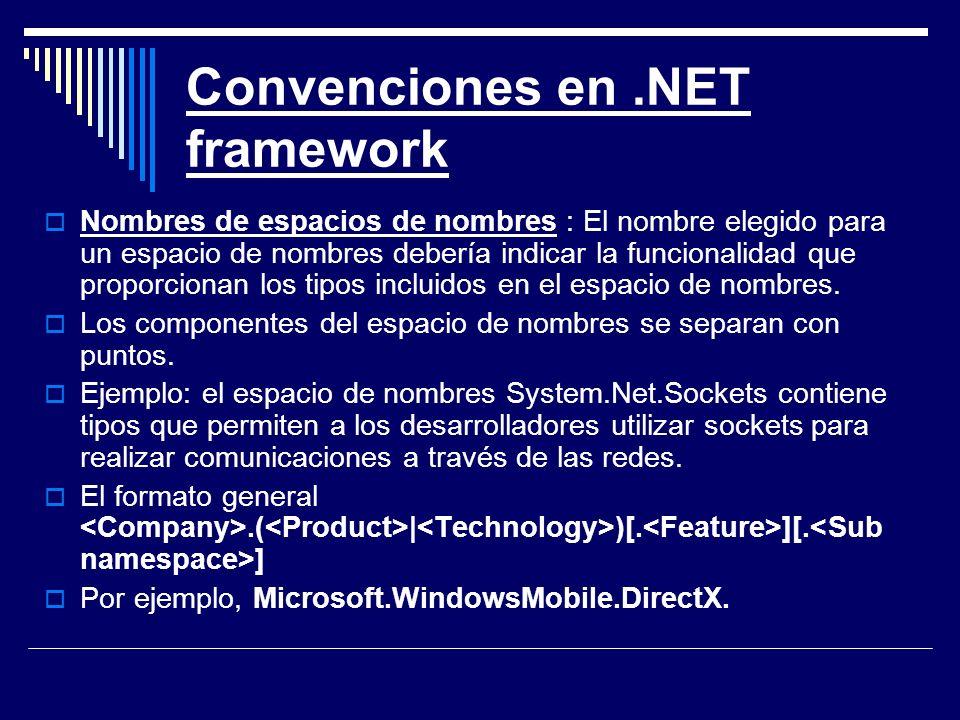 Convenciones en .NET framework