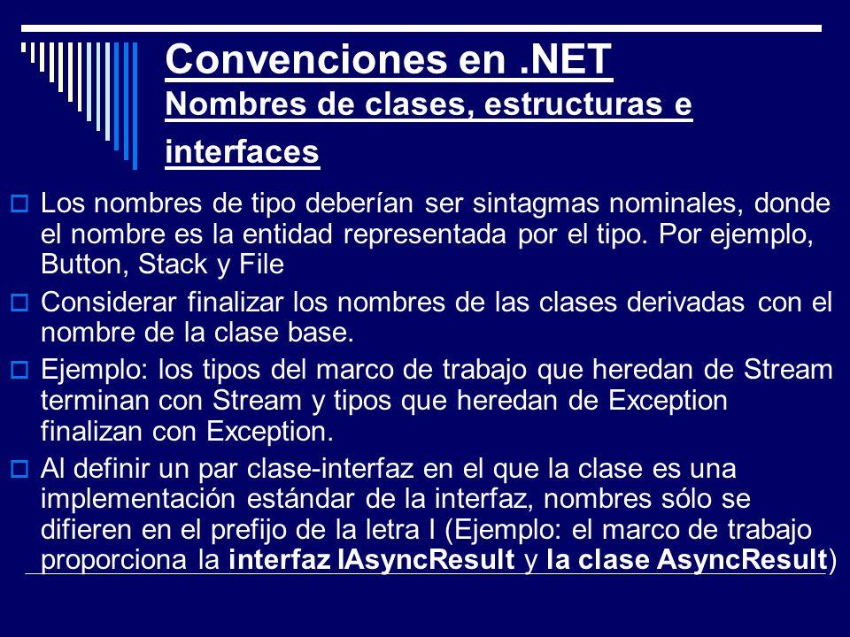 Convenciones en .NET Nombres de clases, estructuras e interfaces