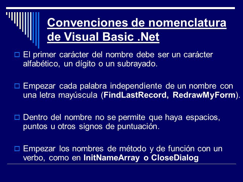 Convenciones de nomenclatura de Visual Basic .Net
