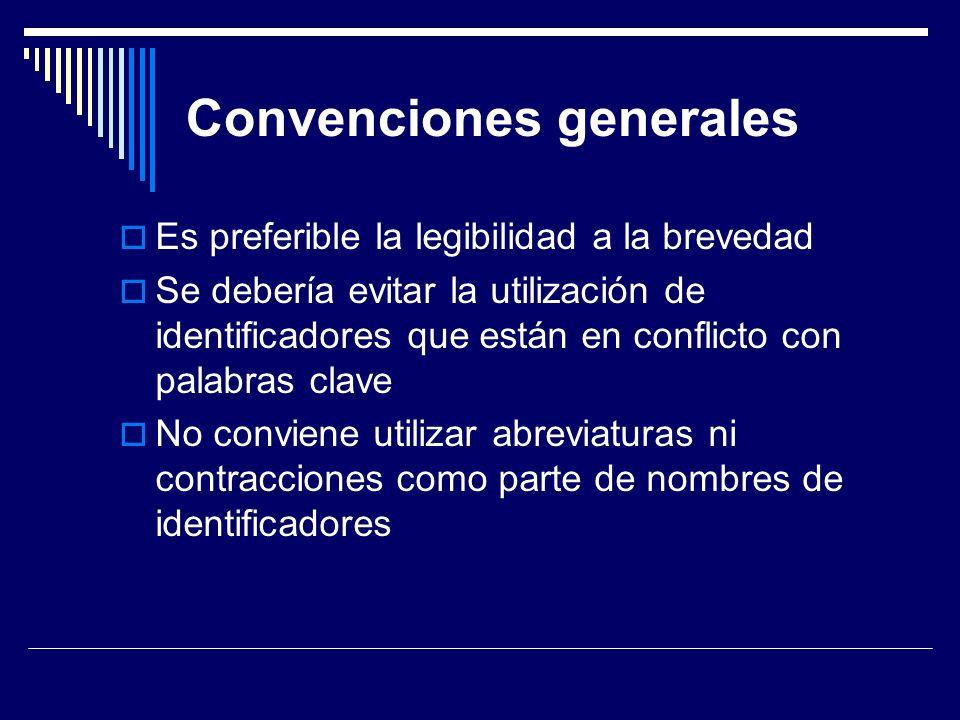 Convenciones generales