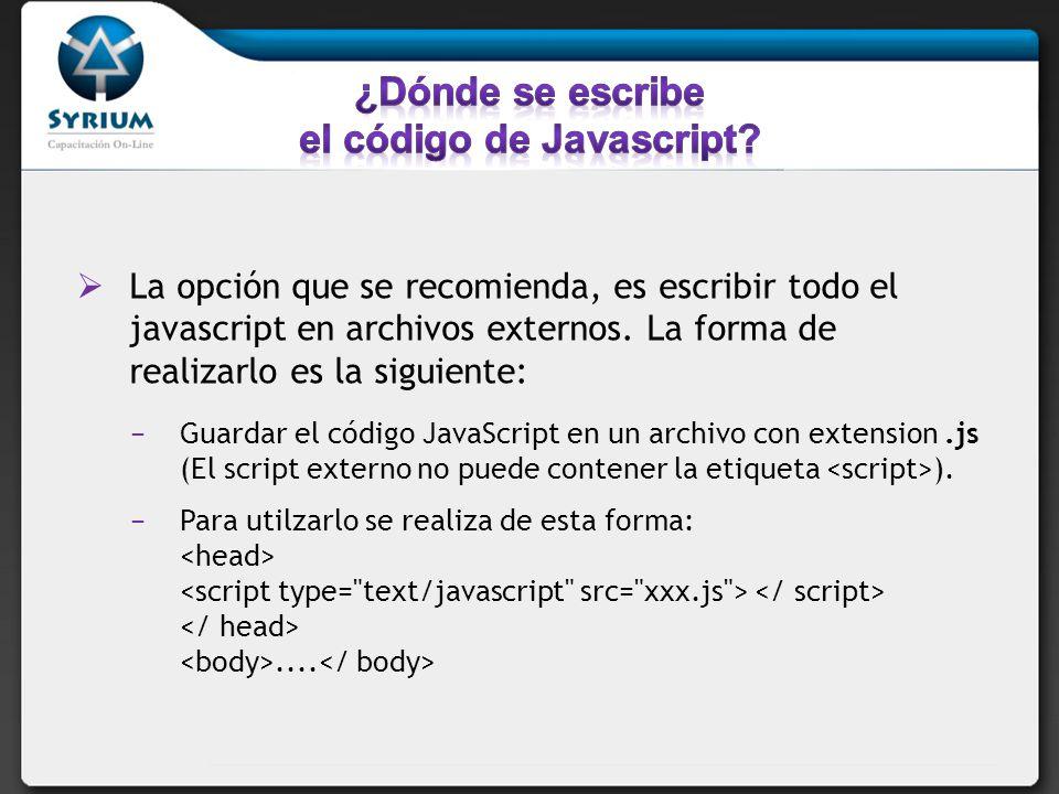 ¿Dónde se escribe el código de Javascript