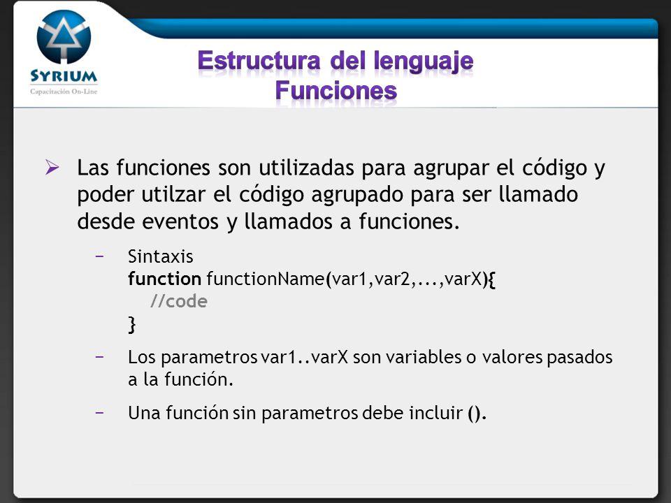 Estructura del lenguaje Funciones