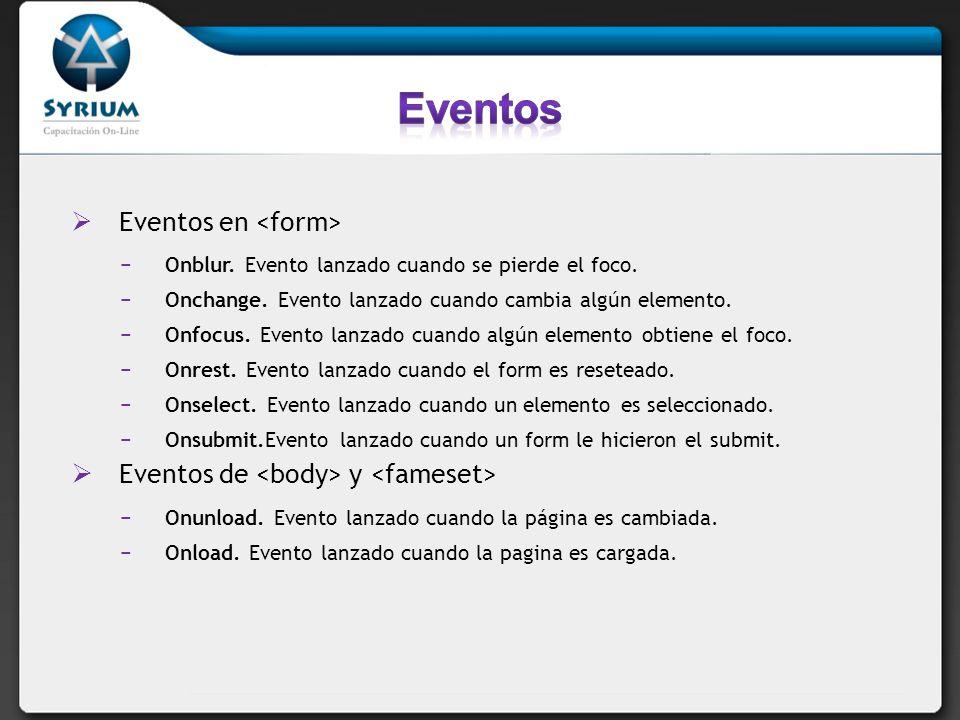 Eventos Eventos en <form>
