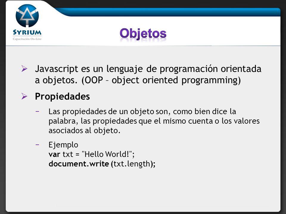 Objetos Javascript es un lenguaje de programación orientada a objetos. (OOP – object oriented programming)