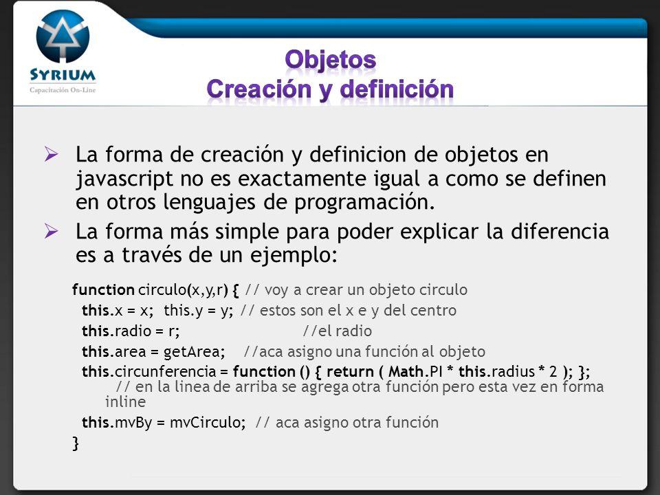 Objetos Creación y definición