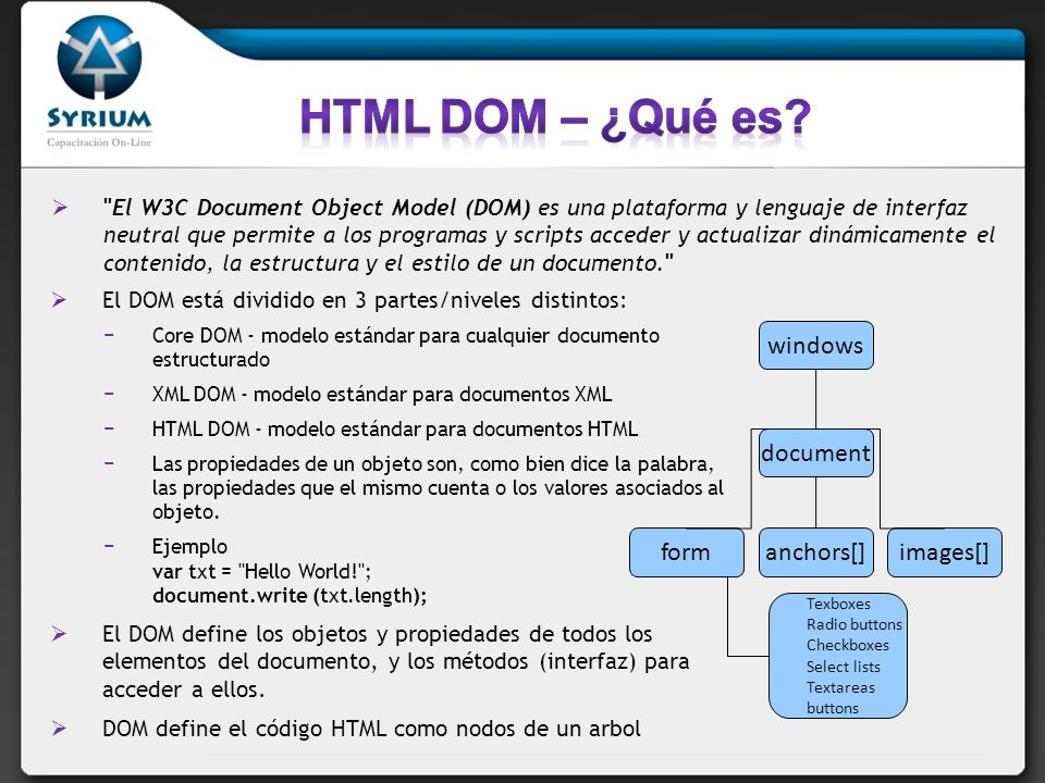 HTML DOM – ¿Qué es form windows document anchors[] images[]