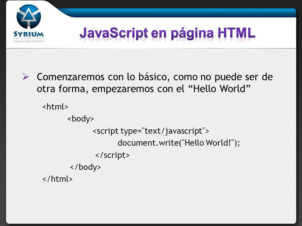 JavaScript en página HTML