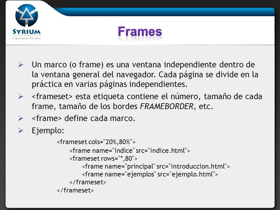 Frames <frameset cols= 20%,80% >