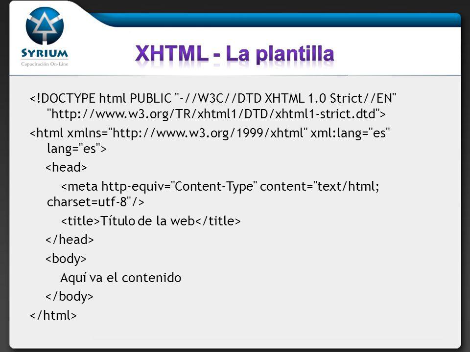 XHTML - La plantilla <!DOCTYPE html PUBLIC -//W3C//DTD XHTML 1.0 Strict//EN http://www.w3.org/TR/xhtml1/DTD/xhtml1-strict.dtd >