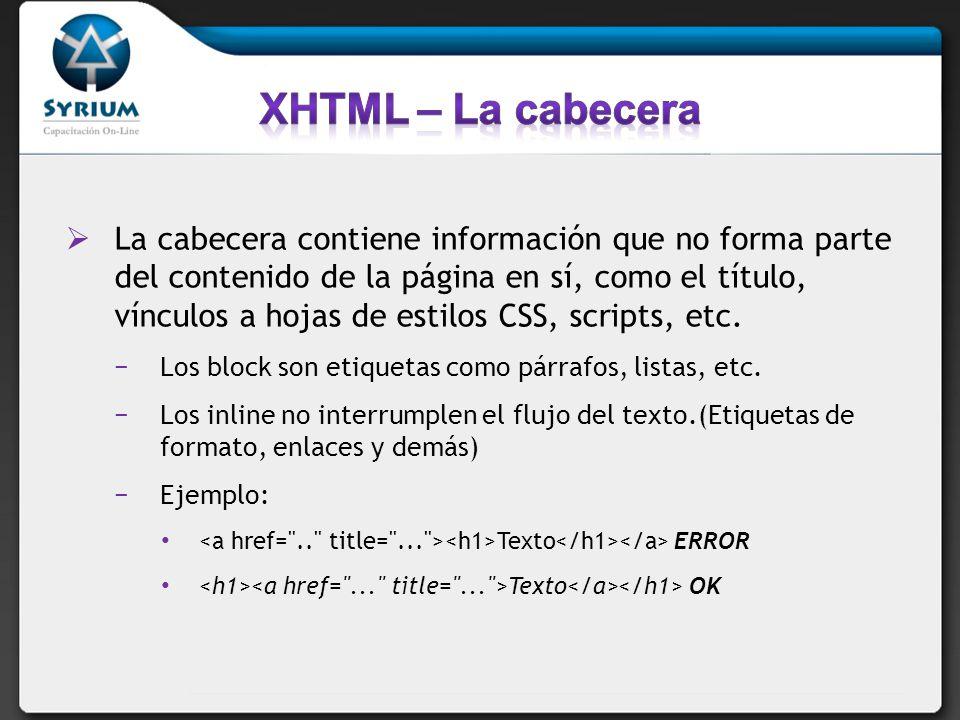 XHTML – La cabecera