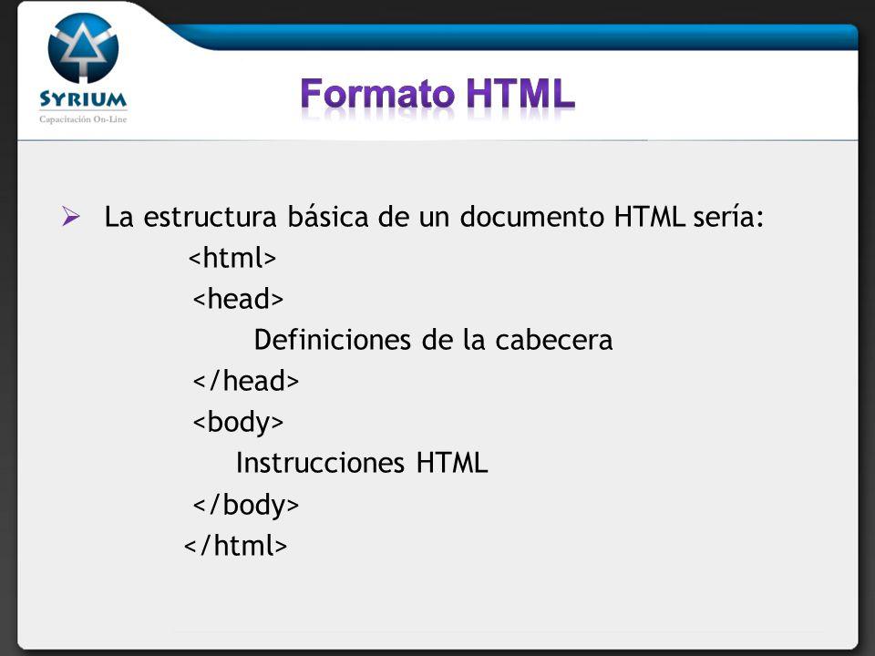 Formato HTML La estructura básica de un documento HTML sería:
