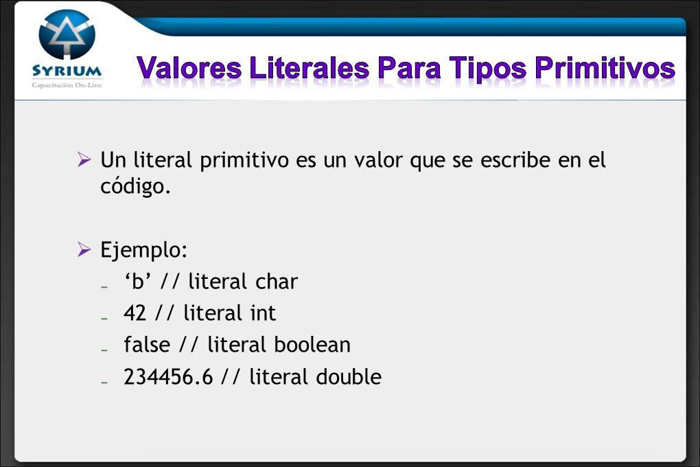 Valores Literales Para Tipos Primitivos