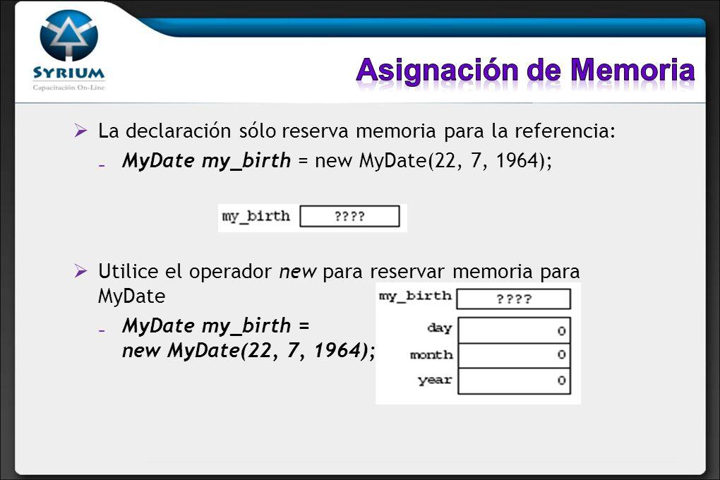 Asignación de Memoria La declaración sólo reserva memoria para la referencia: MyDate my_birth = new MyDate(22, 7, 1964);