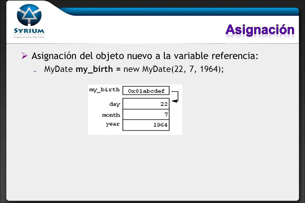 Asignación Asignación del objeto nuevo a la variable referencia: