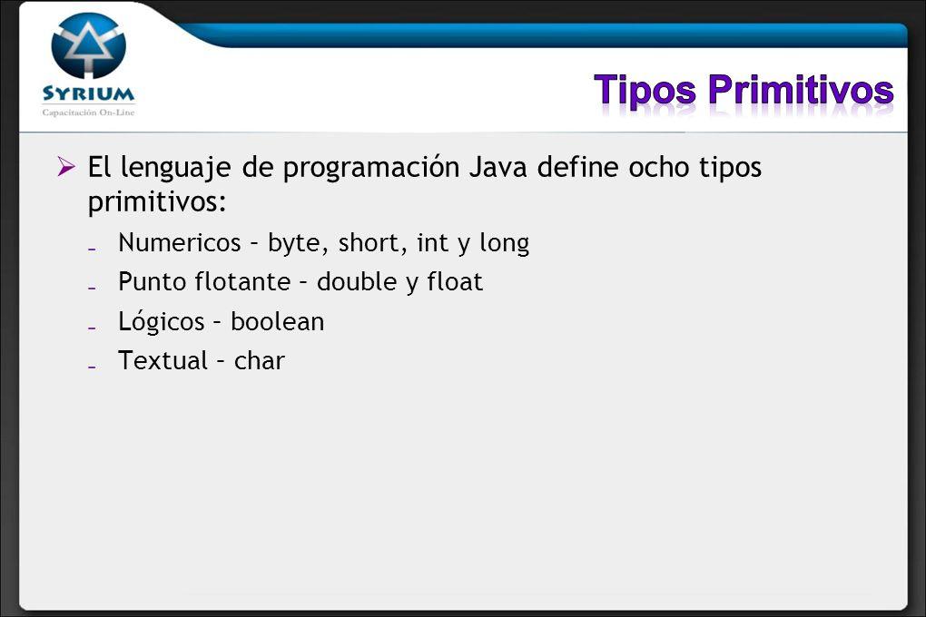 Tipos Primitivos El lenguaje de programación Java define ocho tipos primitivos: Numericos – byte, short, int y long.