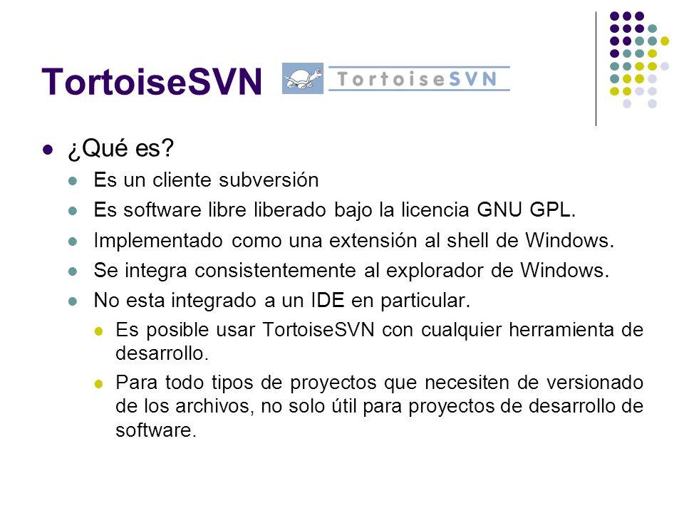 TortoiseSVN ¿Qué es Es un cliente subversión