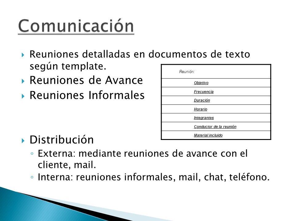 Comunicación Reuniones de Avance Reuniones Informales Distribución