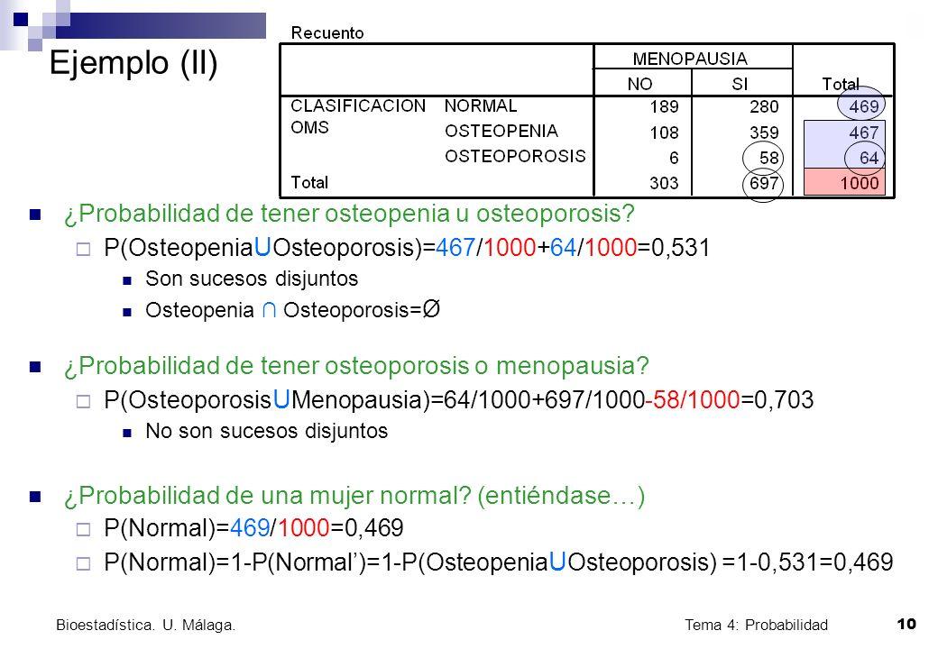 Ejemplo (II) ¿Probabilidad de tener osteopenia u osteoporosis