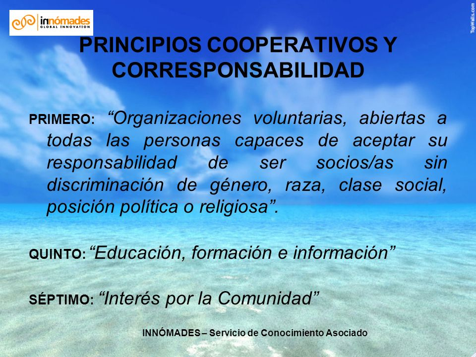 PRINCIPIOS COOPERATIVOS Y CORRESPONSABILIDAD