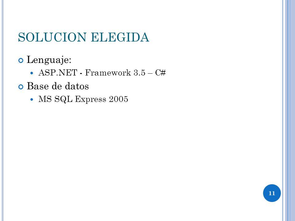SOLUCION ELEGIDA Lenguaje: Base de datos ASP.NET - Framework 3.5 – C#