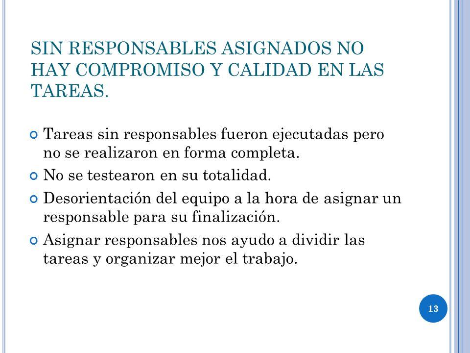 SIN RESPONSABLES ASIGNADOS NO HAY COMPROMISO Y CALIDAD EN LAS TAREAS.