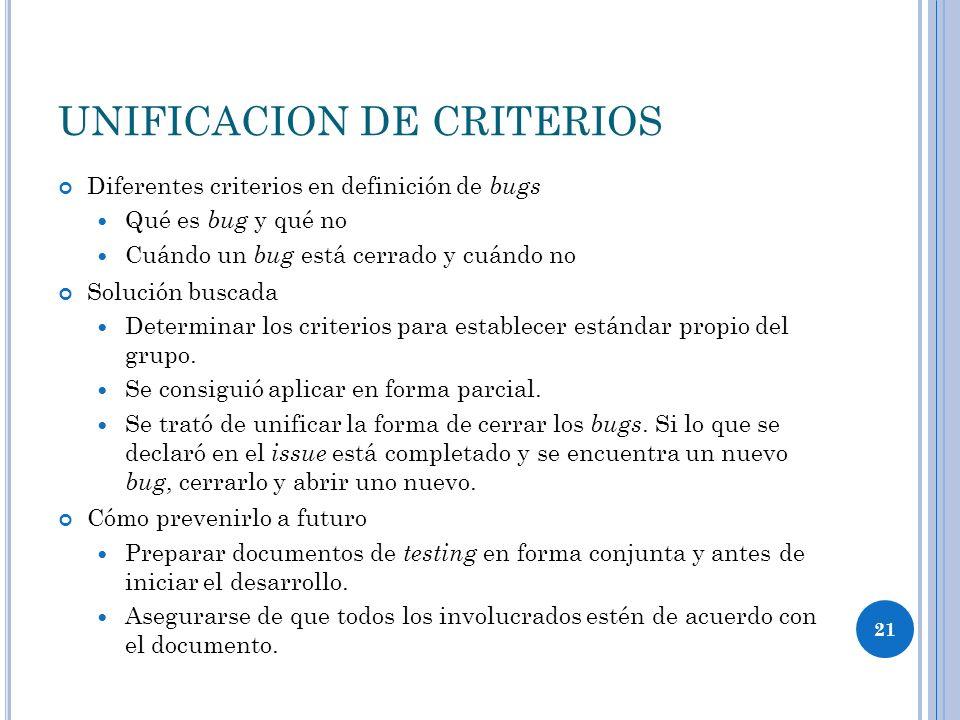 UNIFICACION DE CRITERIOS