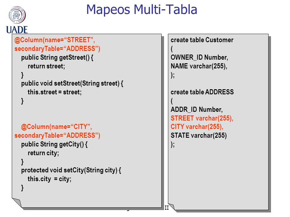 Mapeos Multi-Tabla @Column(name= STREET , secondaryTable= ADDRESS )
