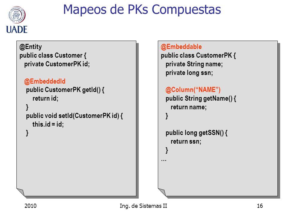 Mapeos de PKs Compuestas