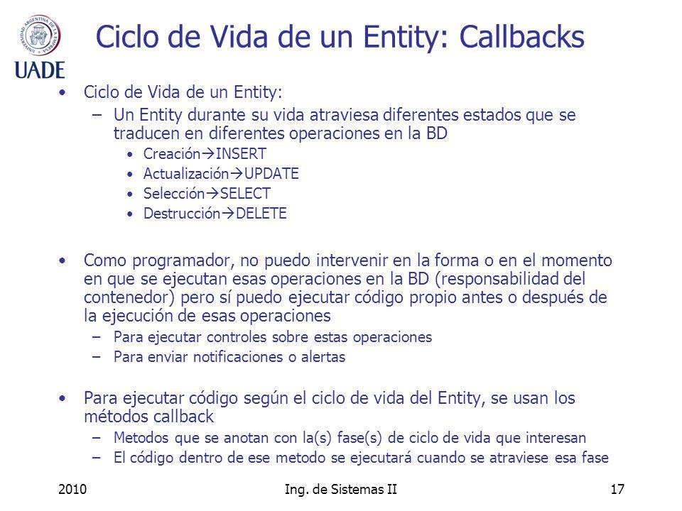Ciclo de Vida de un Entity: Callbacks