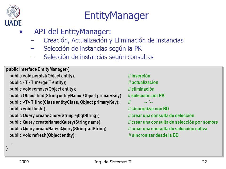 EntityManager API del EntityManager: