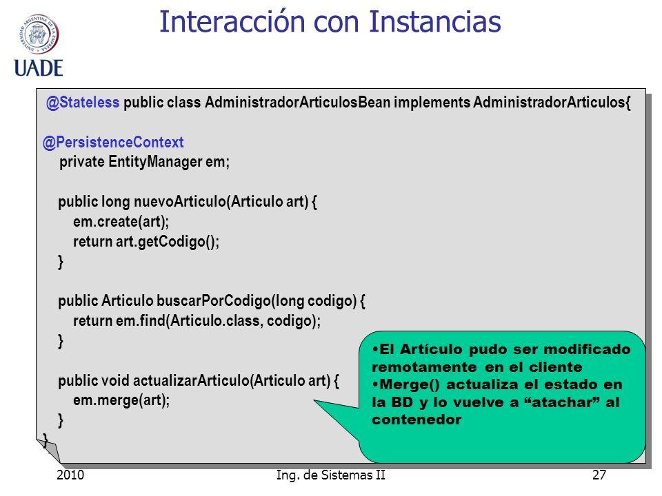 Interacción con Instancias