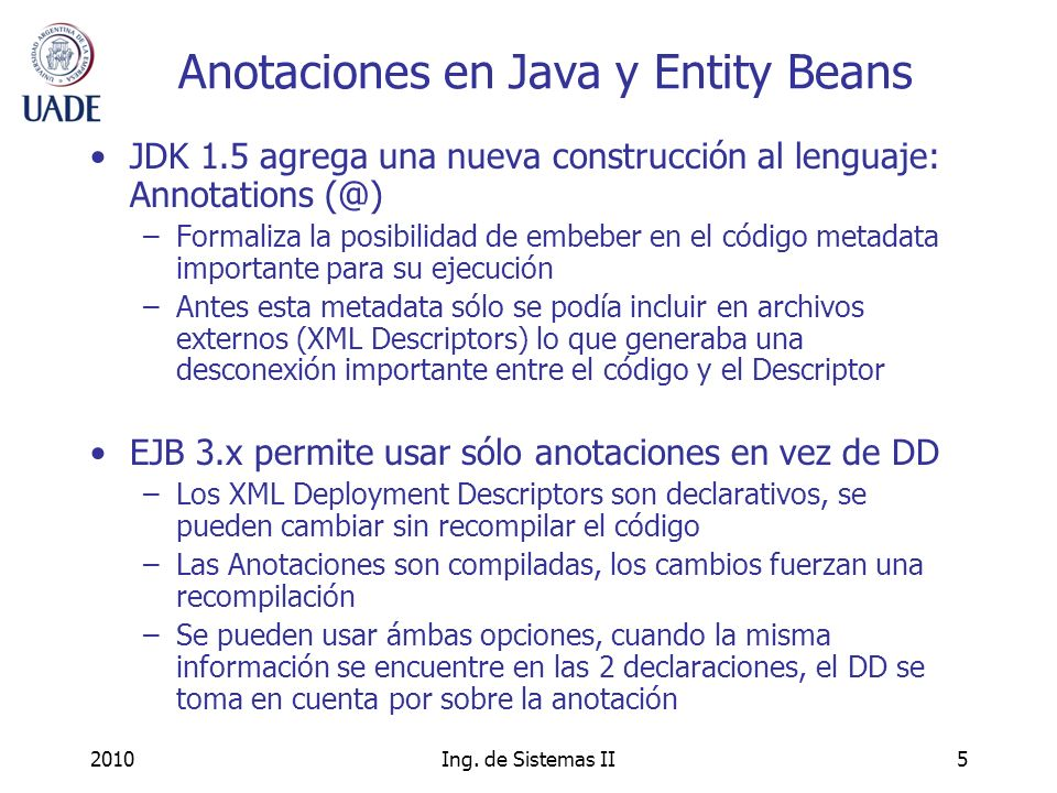 Anotaciones en Java y Entity Beans