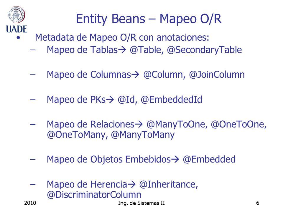 Entity Beans – Mapeo O/R