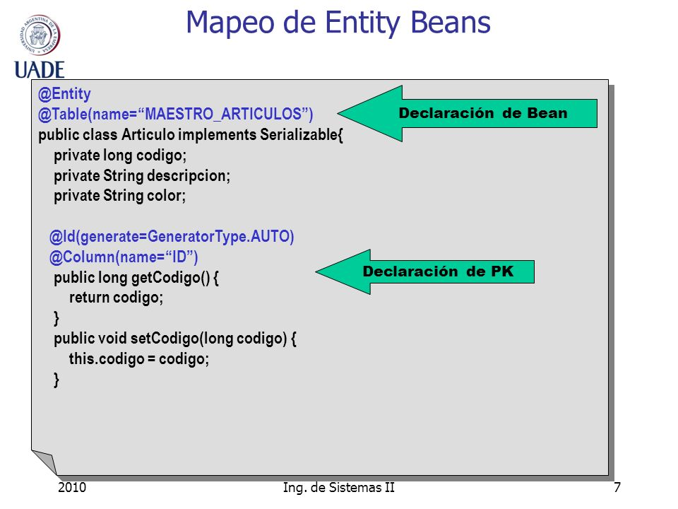 Mapeo de Entity Beans @Entity @Table(name= MAESTRO_ARTICULOS )