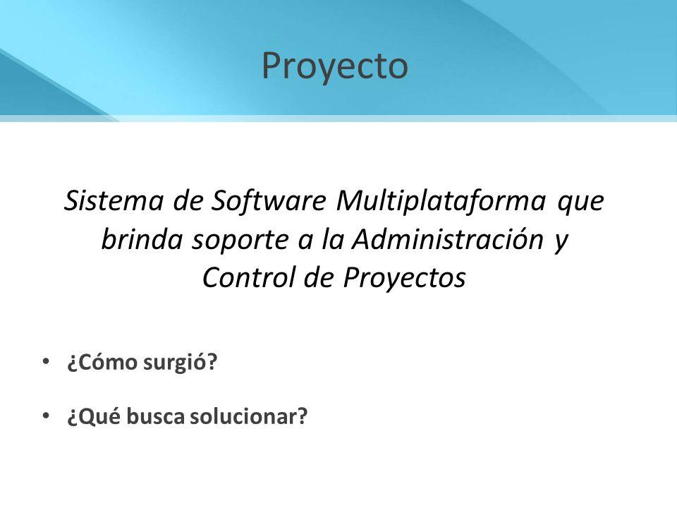Proyecto Sistema de Software Multiplataforma que brinda soporte a la Administración y Control de Proyectos.