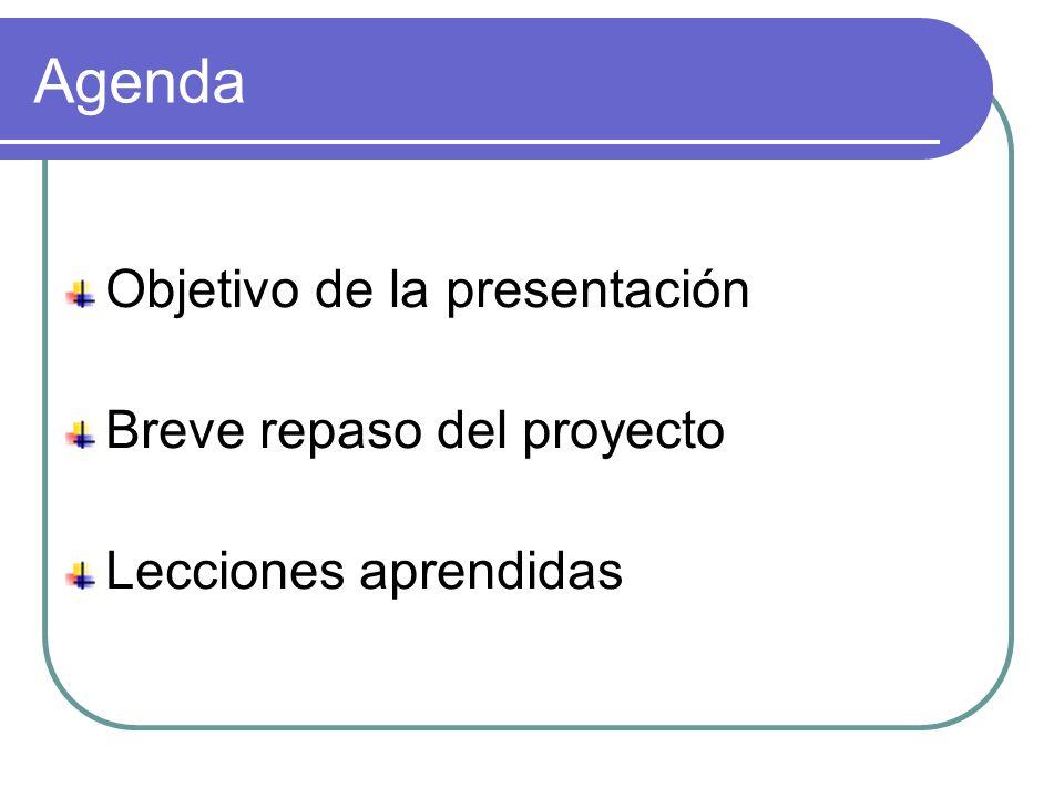 Agenda Objetivo de la presentación Breve repaso del proyecto