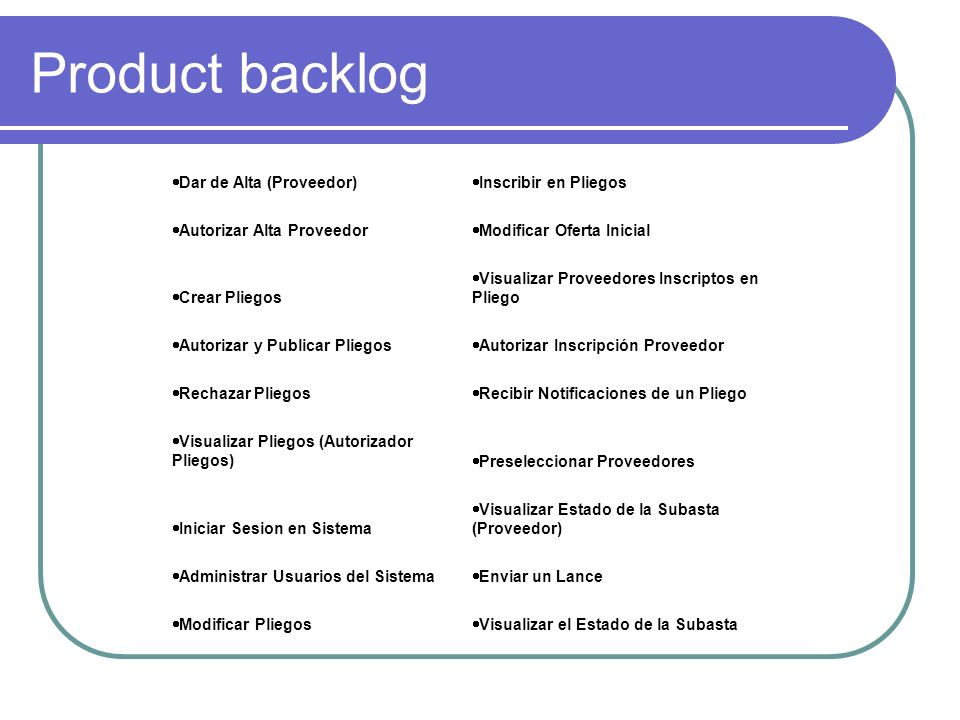 Product backlog Dar de Alta (Proveedor) Inscribir en Pliegos