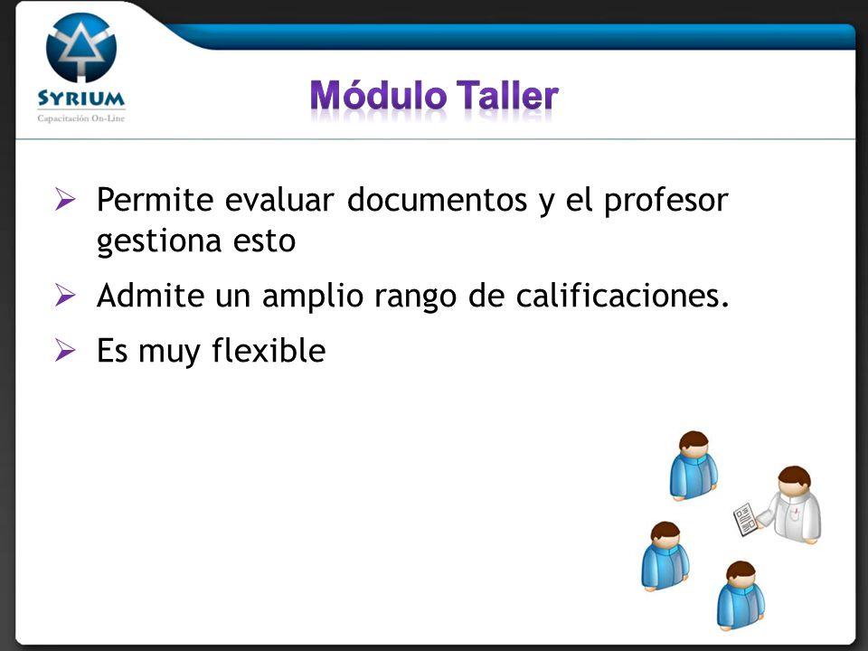 Módulo Taller Permite evaluar documentos y el profesor gestiona esto