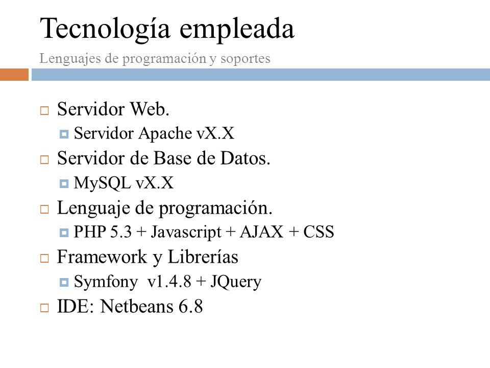 Tecnología empleada Servidor Web. Servidor de Base de Datos.