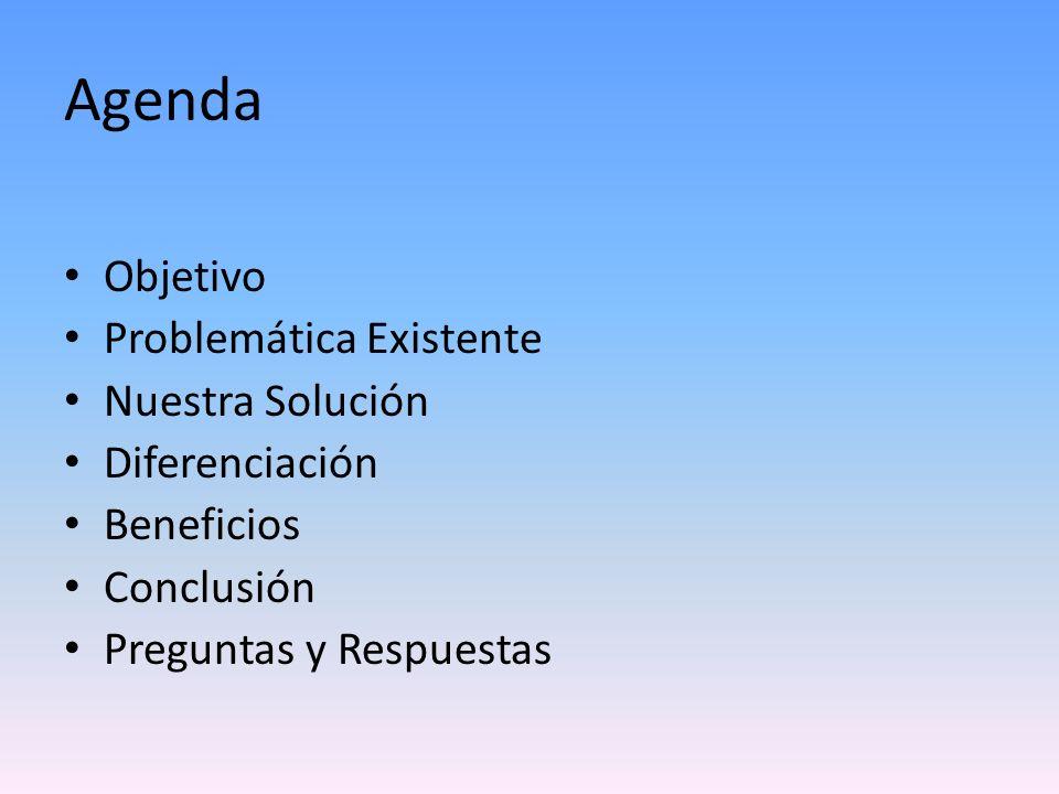 Agenda Objetivo Problemática Existente Nuestra Solución Diferenciación