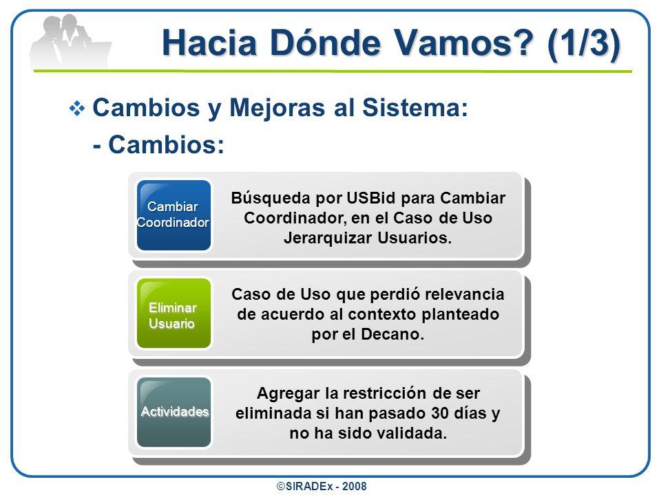 Hacia Dónde Vamos (1/3) Cambios y Mejoras al Sistema: - Cambios:
