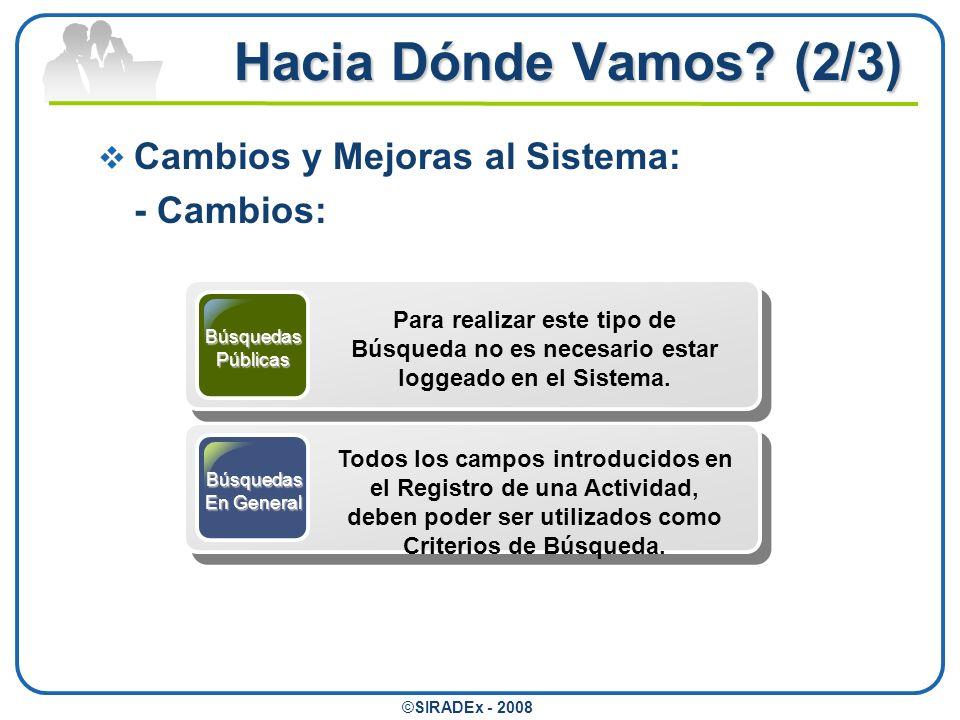 Hacia Dónde Vamos (2/3) Cambios y Mejoras al Sistema: - Cambios: